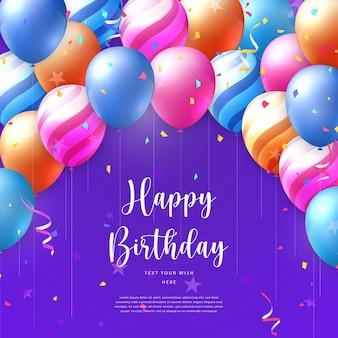 Balão 3d realista elegante vívido vibrante e fita de popper de festa modelo de banner de cartão de celebração de feliz aniversário