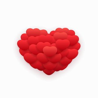 Balão abstrato vermelho voador em forma de coração sobre fundo branco