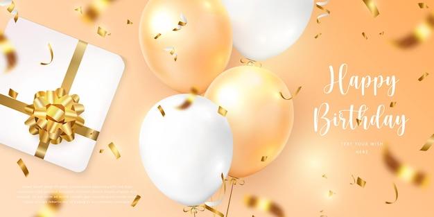 Balão amarelo laranja elegante 3d realista e presente caixa de presente com fita de flor dourada modelo de banner de cartão de celebração de feliz aniversário