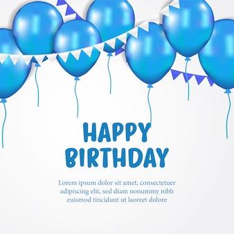 Balão azul de feliz aniversário