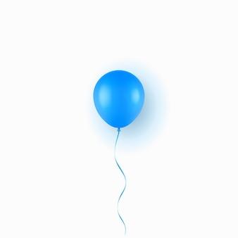 Balão azul realista isolado no fundo branco. ilustração