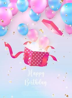 Balão azul rosa elegante e feminino salta de uma caixa de presente. fundo de modelo de banner de cartão de celebração de feliz aniversário