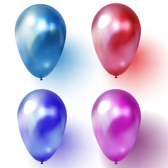 Balão azul, roxo ou violeta e vermelho