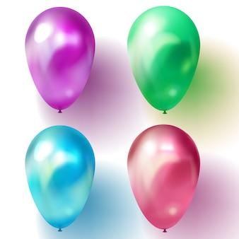 Balão azul, roxo ou violeta, verde e vermelho