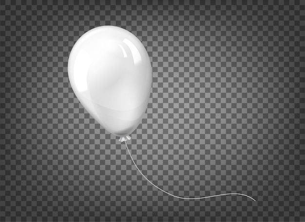 Balão branco isolado no fundo transparente preto.