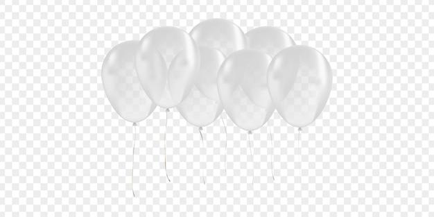 Balão branco isolado realista para celebração e decoração no fundo transparente. conceito de feliz aniversário, aniversário e casamento.