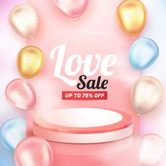Balão brilhante 3d realista e pódio rosa para panfleto de banner de venda de amor
