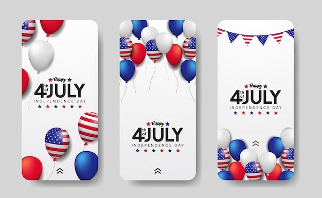Balão colorido voador 3d com moldura da bandeira americana para o dia da independência americana, 4 de julho nos eua