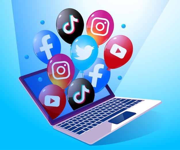 Balão com ícone de logotipo de mídia social fora do laptop