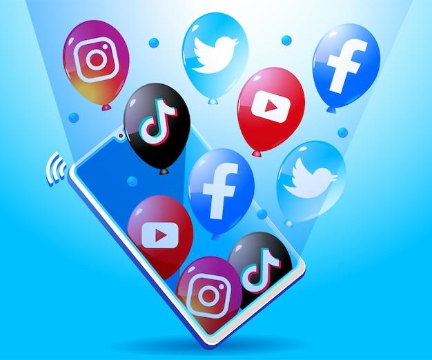 Balão com ícone de logotipo de mídia social fora do smartphone móvel