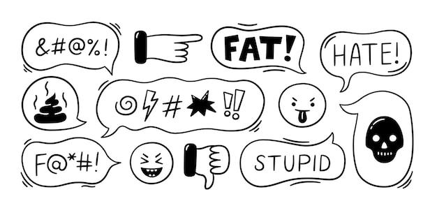 Balão com palavrões cyberbullying trolling conflito e situação de violência
