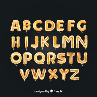 Balão de alfabeto dourado