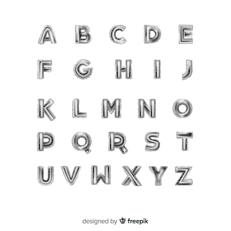 Balão de alfabeto prateado