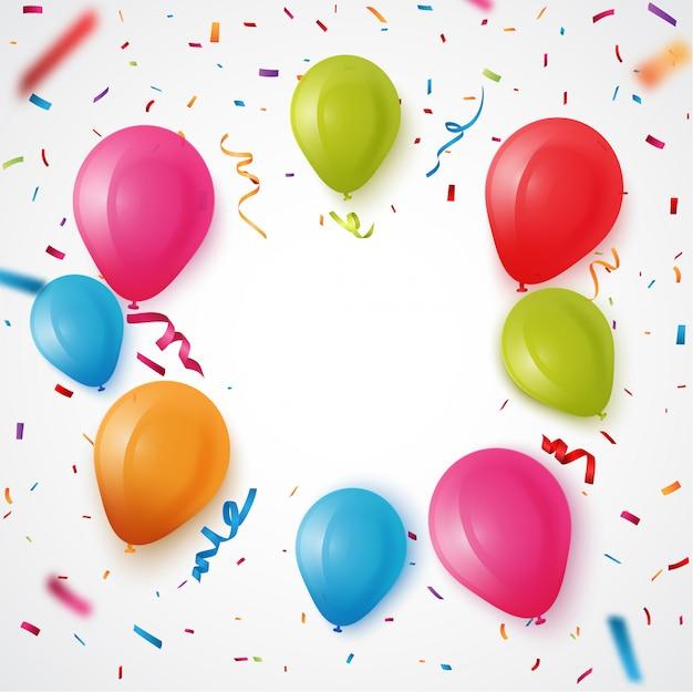 Balão de aniversário colorido com fundo de confete