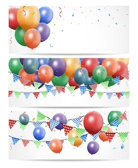 Balão de aniversário colorido em branco banner