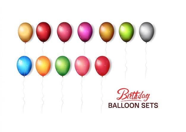 Balão de aniversário define ilustração colorida