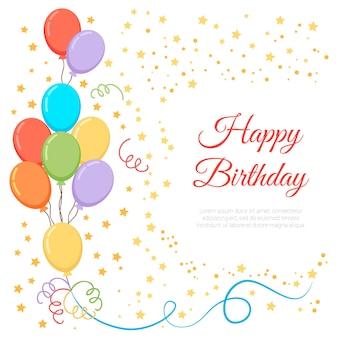 Balão de aniversário e fundo de confete