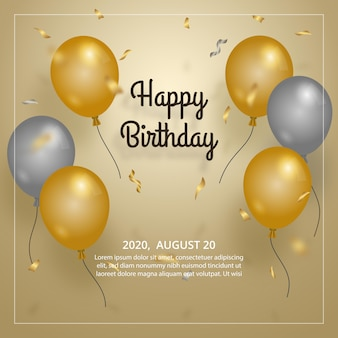 Balão de aniversário elegante com modelo de balão de ouro e prata