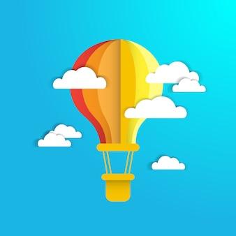 Balão de ar colofrul no céu azul com papel branco nuvens fundo