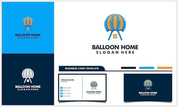 Balão de ar com design de logotipo de ícone de casa ou casa e modelo de cartão de visita