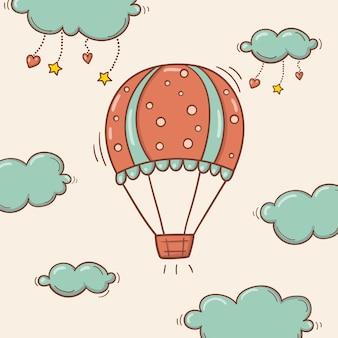 Balão de ar desenhado de mão no céu com nuvens, corações e estrelas no estilo doodle.