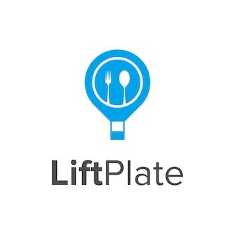 Balão de ar e garfo e colher prato simples, elegante, criativo, geométrico, moderno, logotipo, design