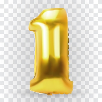 Balão de ar inflável de cor dourada realista figura 1. ilustração vetorial.