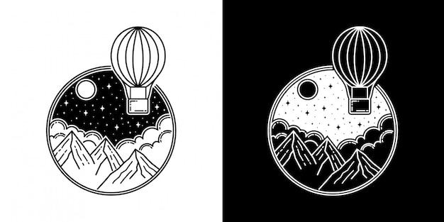 Balão de ar na montanha monoline design