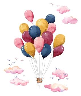 Balão de ar quente colorido feito de muitos pequenos balões voando no céu pintura em aquarela