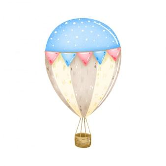 Balão de ar quente colorido pastel vintage bonito dos desenhos animados com bandeiras rosa e azuis