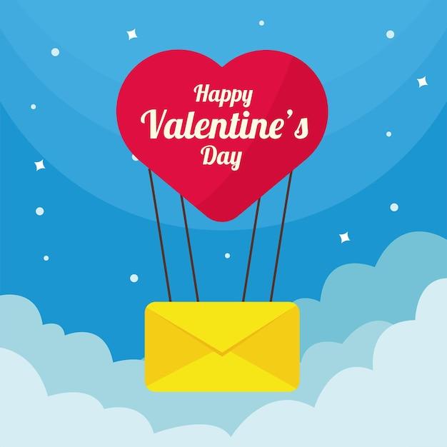 Balão de ar quente com amor de coração e envelope no céu