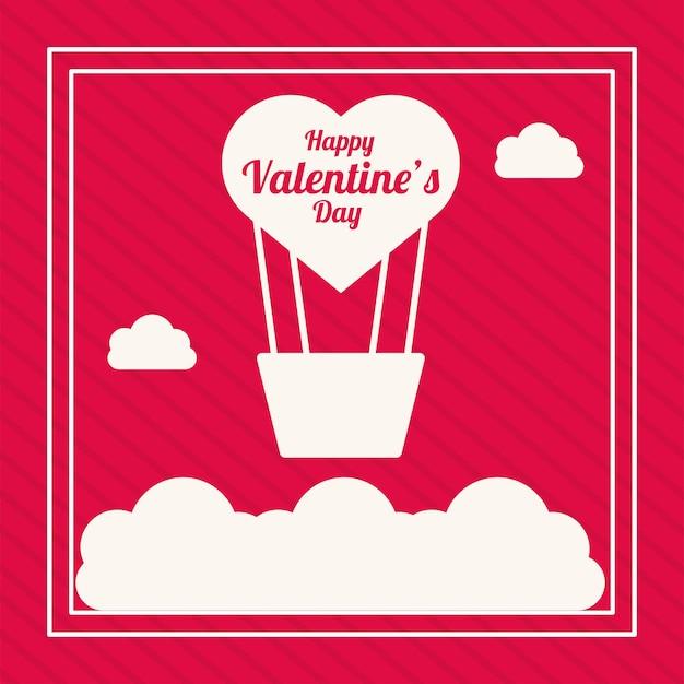 Balão de ar quente com coração amor dia dos namorados em fundo vermelho