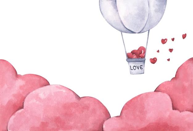 Balão de ar quente com coração flutua no céu. ilustração de amor e dia dos namorados. ilustração em aquarela.
