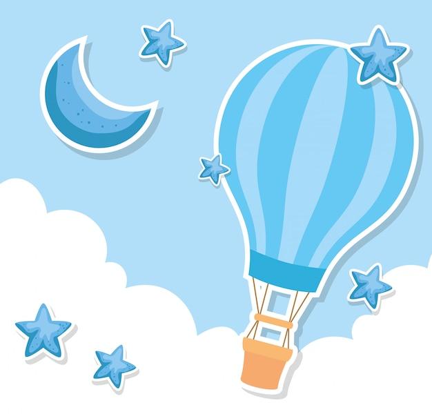 Balão de ar quente com decoração