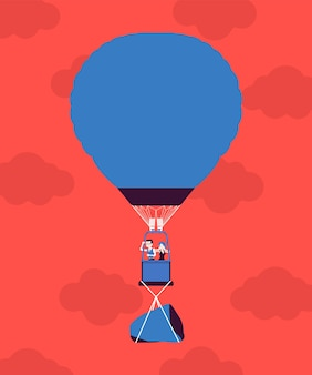 Balão de ar quente com empresários em vôo e uma rocha. carga pesada para transportar, peso difícil ou deficiência perigosa impedem um bom início e desenvolvimento, causam preocupação, dificuldades. ilustração vetorial