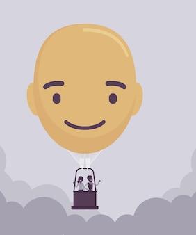 Balão de ar quente com formato de cabeça feliz