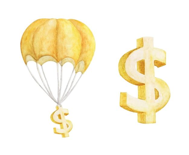 Balão de ar quente com golden dollar isolado no branco