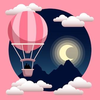 Balão de ar quente com ilustração de silhueta de casal