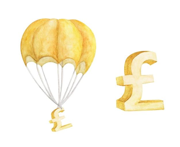 Balão de ar quente com libra de ouro isolado no branco