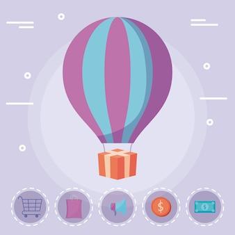 Balão de ar quente com presente e ícones comerciais
