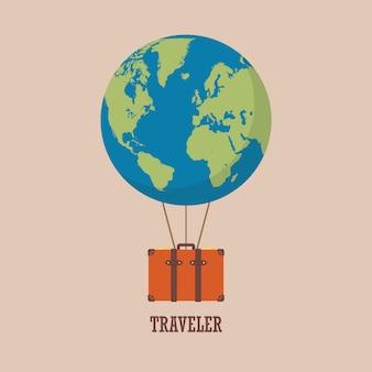 Balão de ar quente de globo com mala de viagem