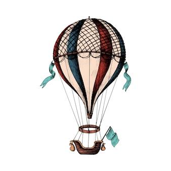 Balão de ar quente de mão desenhada