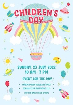 Balão de ar quente do dia das crianças poster