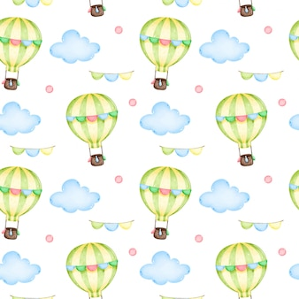 Balão de ar quente dos desenhos animados com guirlandas no céu entre o padrão sem emenda de nuvens