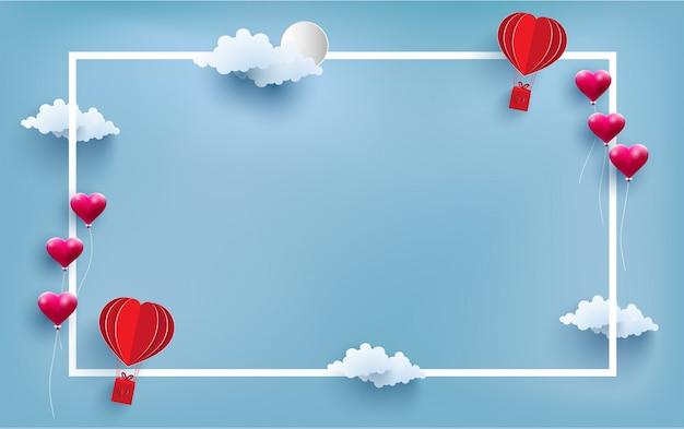 Balão de ar quente e amor no quadro