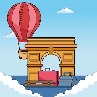 Balão de ar quente e design de viagens do mundo
