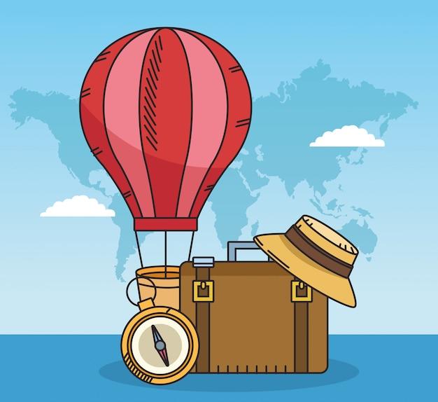 Balão de ar quente e design de viagens