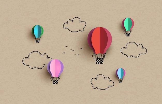 Balão de ar quente e nuvem, desenho à mão e estilo de corte de papel.