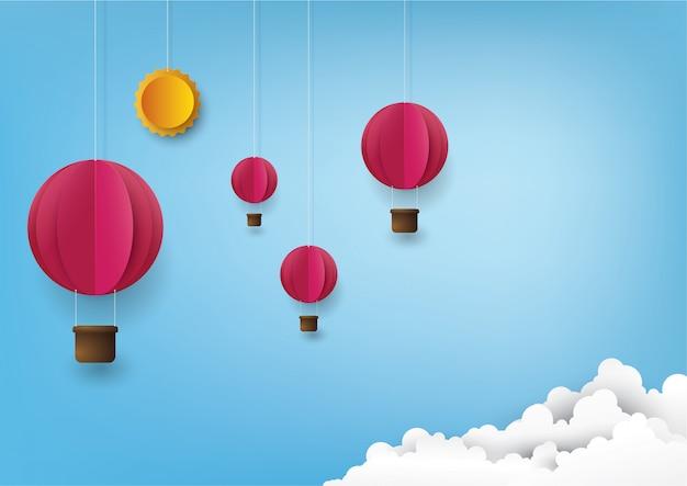 Balão de ar quente e nuvem.