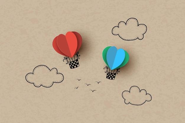 Balão de ar quente em forma de coração no céu. desenho à mão e corte de papel.